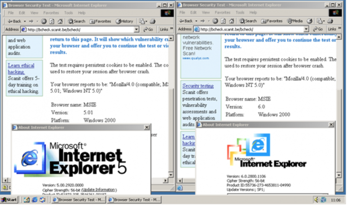 A screenshot with 2 browsers open, circa Windows 98