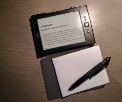 a photo of my kindle rotated in note taking mode