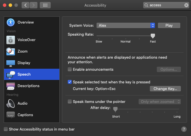 A screenshot of the macOS a11y speech settings