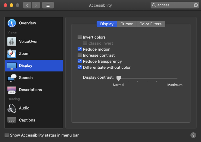 A screenshot of the macOS display controls