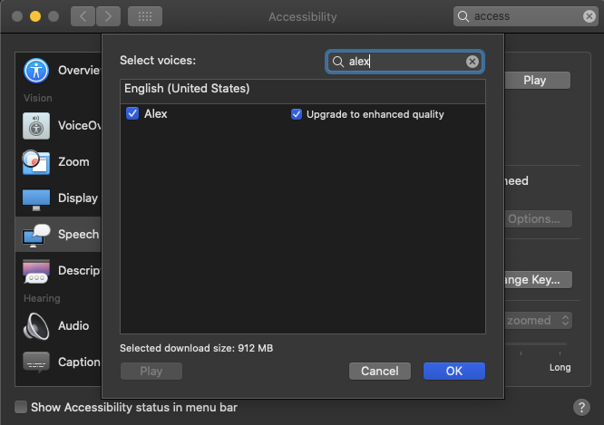 A screenshot of the macOS a11y panel to upgrade voices to enhanced quality