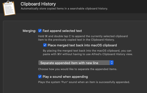 A screenshot of the Alfred settings UI for Clipboard merging