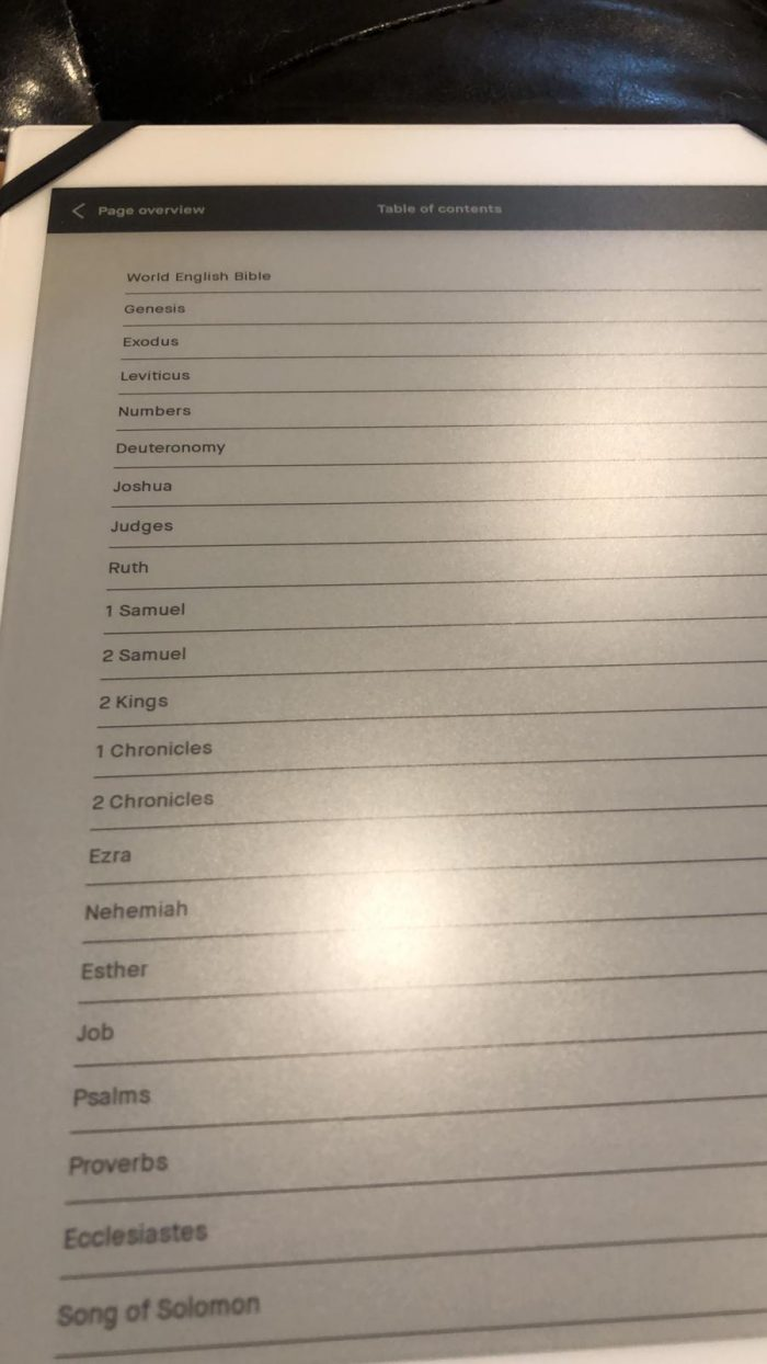 A photo of a ReMarkable's table of contents in a book