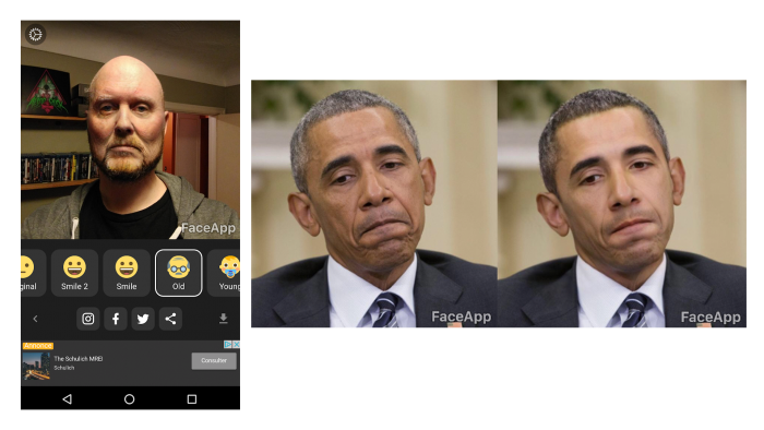 """photos of faceapp's results - including the """"hotness filter"""" making skin tones lighter"""